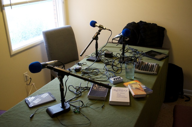 "The ""studio"" almost ready to record, with new mic stands."